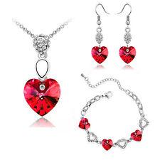 cristallo rosso cuori set gioielli orecchini collana e bracciale San Valentino