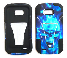 ZTE Awe N800 (Virgin Mobile) Faceplate Phone Cover Case T-STAND BLUE SKULL