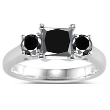 3.17 Ct Black Color Moissanite Round 925 Sterling Silver Engagement Ring Size 7