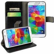 Black Genuine Leather Card Money Wallet Phone Case Cover for Samsung Galaxy S5