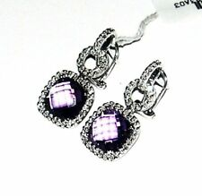 18K WHITE GOLD DIAMOND & AMETHYST EARRINGS