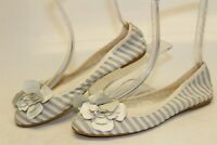 Sundance Womens Size 8 38 Striped Textile Ballet Flats Italy Made Shoes