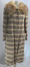 Laura Martin VTG 40s Coat Rabbit Fur tweed wool retro Mod long Jacket lined S SP