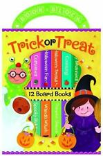 NEW 12 TRICK OR TREAT Halloween Mini Board Books Carry Case Shapes Colors Count
