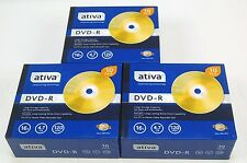 3 - 10 Packs of ATIVA DVD-R 16X 4.7GB 120 min NEW - 30 DVD-R w/Jewel Cases #GW69