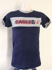 Vtg 80s Champion Brand Eagles Ringer T-Shirt Blue Gray XS/S 50/50