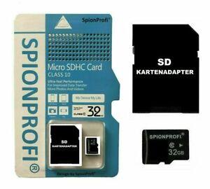 32GB MICRO SD SDHC SPEICHERKARTE INKL. SD KARTENADAPTER SPYCAM KAMERA MINI Z51