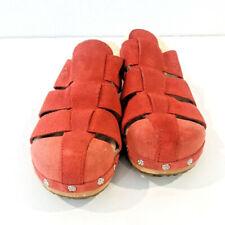 UGG Australia Clogs Womens 7 Orange Leather Suede Slip On Wooden Sandals Slides