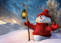 Christmas Snowman Giant Print Picture Art Poster - A5 A4 A3 A2 A1 A0 Sizes