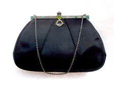 Artbag Art Deco Evening Bag Black Satin Green Cabochon Marcasite Vintage Superb