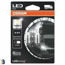 2x OSRAM T4W LED Warm White (249) 24V BA9s 3924WW-02B Car Interior Bulbs 4000K
