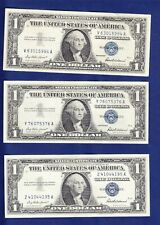 Three 1957 $1 Silver Certificate Notes  (Blue Seal)