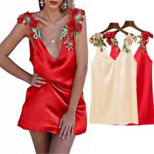 Stereo Flowers Embroidered Nightwear V-Neck Babydolls Sleeveless Silk Lace Dress