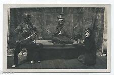 BM377 Carte Photo vintage card RPPC Indochine représentation sculpture guerier