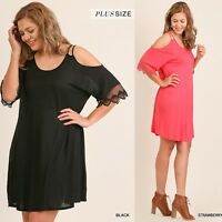 PLUS XL-1XL-2XL UMGEE STRAWBERRY or BLACK strappy open shoulder Dress/Tunic BHCS