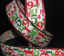 5 Yards Christmas Numbers Kids Child Baby Glitter Red Green White Wired Ribbon 1