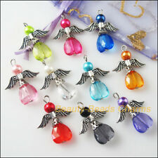 10 New Charms Mixed Dancing Angel Wings Heart Pendants DIY 23x29mm