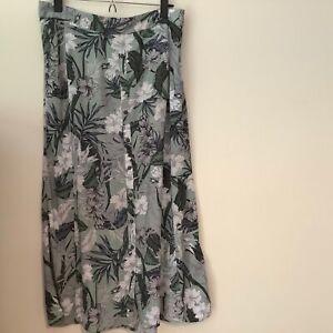 Katies maxi skirt size 12 sage green floral rayon elastic waist A line