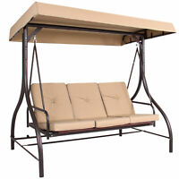 BCP 3-Seat Outdoor Canopy Swing Glider Furniture w/ Convertible Flatbed Backrest
