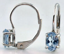 14k White Gold Earrings 6x4mm Oval Shape Blue Topaz Lever Back