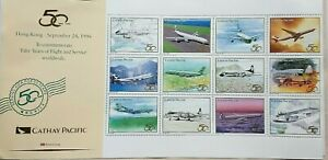 HONG KONG 1996 CATHAY PACIFIC AIRLINE 50TH ANNIV SHEET OF 12 LABELS WITH PLANES