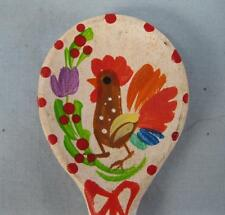 Budapest Hungary Wooden Souvenir Spoon Rooster & Flowers Handpainted Red White O