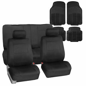 Neoprene Car Seat Covers Black for Auto SUV CAR w/ Black All Weather Mats