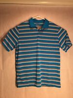 Nike Golf Shirt Men's Large Dri Fit Shorts Sleeve Striped Blue