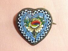 Broche coeur  micromosaïque années 50 made in Italy