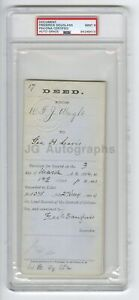 Frederick Douglass - Civil Rights Abolitionist - Autographed 1884 Doc PSA Mint 9