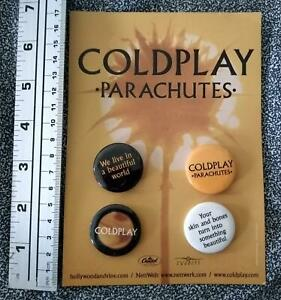 Authentic COLDPLAY PROMO ONLY BUTTON / BADGE / Pin Card Set Parachutes 2000 RARE