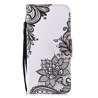 Flip Patterned PU Leather Lot Card Pocket Wallet Stand Strap Case Cover Silicone