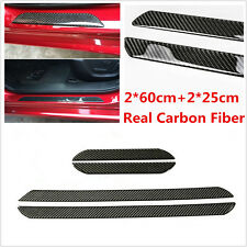 4Pcs 60CM+25CM Carbon Fiber Car Door Sill Cover Scuff Plate Panel Step Protector