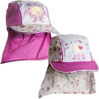 Girls Forever Friends Bear Novelty Summer Sun Hat Legionnaires Cap Pink 2-6 yrs