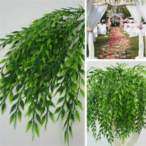 Artificial Weep Willow Hanging Green Vine Flower Fake Leaf Plants Garden Decor
