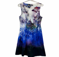 Portmans Womens Multicoloured Sleeveless Lined Fit Flare Dress Size 10