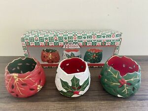 Holiday Collection Christmas Porcelain 3Pc Set Tea Light Holders Home Decor