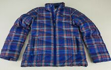 Patagonia Girls Goose Down Puffer Jacket Size Medium (10) Blue Plaid  z9