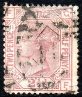 1878 Sg 141 2½d rosy mauve 'GF' Plate 11 with Duplex Cancellation Fine Used