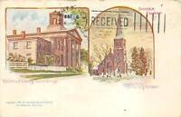 STATEN ISLAND NEW YORK RICHMOND COUNTY COURT HOUSE & CHURCH POSTCARD 1904