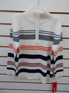 Boys IZOD $39.50 Cream w/ Multi-Colored Stripes Pullover Sweaters Size 4 - 7