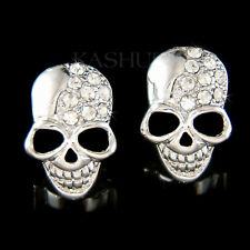 w Swarovski Crystal Skull Hip Hop Dia De Los Muertos Day of Dead Gothic Earrings