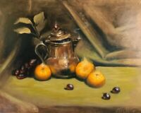 Original Oil Painting Copper Art Tea Time oranges realism Listed By artist