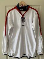 Rare 2003-2005 Long Sleeve Reversible England Football Home Shirt Size M VGC