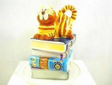 COOKIE JAR CAT ON A STACK OF BOOKS BICO CHINA