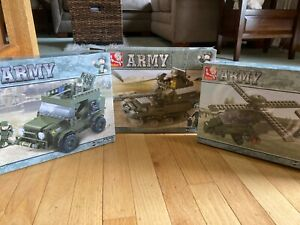 Sluban Army 3 Sets - Helicopter Tank and Jeep Building Blocks Sets