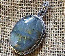 Natural Labradorite Gemstone 925 Sterling Silver Plated Jewelry Pendant