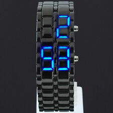 LED Digital Date Lava Faceless Iron Bracelet Samurai Watch Mens Ladies