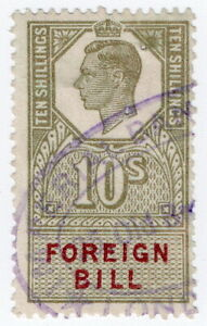 (I.B) George VI Revenue : Foreign Bill 10/-