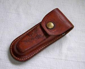 Vintage Original KABAR Folding Pocket Knife Brass Snap Leather Belt Holster Buck